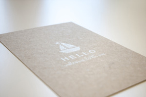 Postkarte Graupappe Siebdruck
