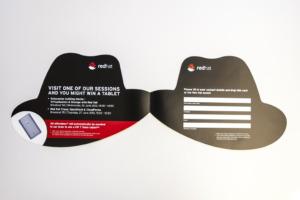 Flyer Stanzform Hut zum Aufklappen